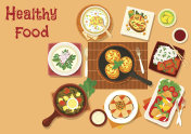Chinese and russian cuisine dinner dishes icon