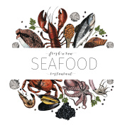 Vector hand drawn seafood banner.colored Lobster, salmon, crab, shrimp, octopus, squid, clams.E