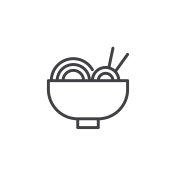 Noodles bowl with chopsticks outline icon