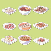Chinese cuisine dishes isolated labels