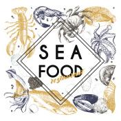Vector hand drawn seafood banner.Lobster, salmon, crab, shrimp, ocotpus, squid, clams.