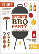 Barbecue and Grill Party Poster. Vector