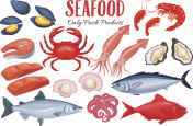 Seafood in cartoon style