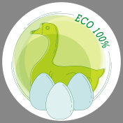 Sticker Eco 100% with a picture of duck eggs in the style of line art. Vector. For printing stickers, stickers, symbols of the product