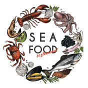 Vector hand drawn seafood banner.colored Lobster, salmon, crab, shrimp, ocotpus, squid, clams.