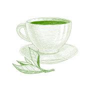 Tea cup with green tea and tea leaf.