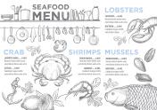Menu seafood restaurant, food template placemat.
