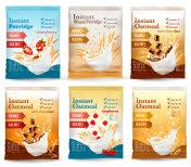 Instant porridge advert concept. Desing template. Vector