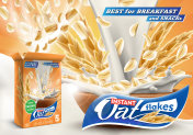 Oat flakes advertising poster with oatmeal box and big splash of pouring milk vector realistic ads illustration