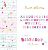 Party design elements set. Candy font design and festive seamless patterns with sweets.