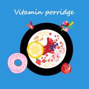 Vector illustration of a plate of useful porridge