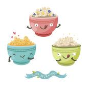 Cute porridge characters and 'Good morning!' ribbon