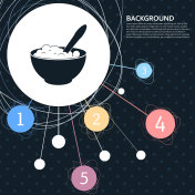 porridge icon with the background to the point and with infographic style. Vector