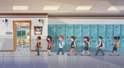 Group Of Pupils Walking In School Corridor To Class Room, Mix Race Schoolchildren
