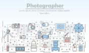 Photography concept vector flat line art illustration