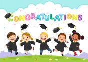 Happy graduation day. Vector illustration of students celebrating graduation
