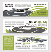Vector banners of safety road construction service