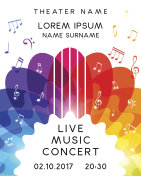Music concert poster design. Vector template for flyer, banner,