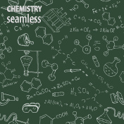 Chalk chemistry symbols on green blackboard. Vector seamless pattern.