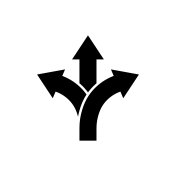 Three-way direction arrow icon Road direction sign