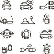 Smart car and hands free driving automatic system vector line icons