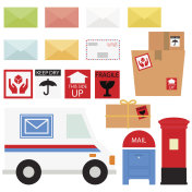 Mail Service / Snail Mail And Packages In White Background