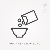 Line icon pour cereal in bowl