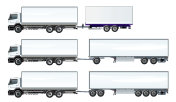 Vector road trains set template isolated on white