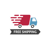 Free shipping icon vector, truck moving fast and free shipping text label, fast delivery badge isolated on white