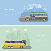 Travel by Bus Concept Banners