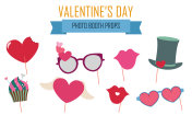 Happy Valentines day photo booth props vector