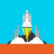 Space Takeoff Flat Illustration