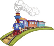 Cartoon train with colorful carriage