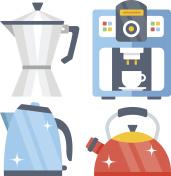 Tea kettle, tea pot, classic aluminum coffee maker, coffee machine