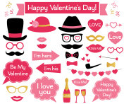 Valentines Day photo booth props and decoration