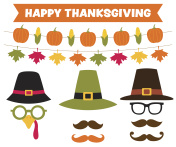 Thanksgiving party banners and pilgrim hats