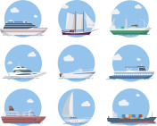 Ships and boats in flat style