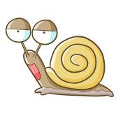 Cute snail in cartoon style
