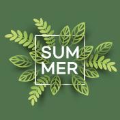 Summer Tropical Leaf. Paper cut style. Vector illustration