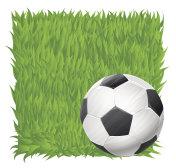 soccer ball on grass field background. football theme vector illustration