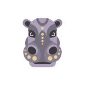 Hippo African Animals Stylized Geometric Head