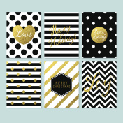 Modern creative Christmas cards in black, gold and white