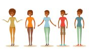 Set of Cute young african women in different clothes vector illustration
