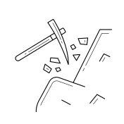 Pickaxe vector line icon