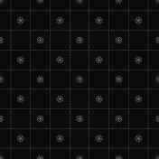 White Flower in Dash Chess Board Japanese Seamless on Black Background. Vector Illustration