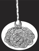 Hand drawn doodle Noodle at plate and fork. - Illustration Noodles, Pasta, Asian Wheat Noodles, Breakfast, Dinner