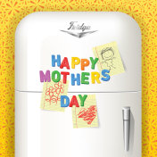 Happy Mother's Day spelled in plastic magnetic letters on vintage refrigerator.