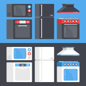 Kitchen appliances set. Microwave oven, dishwasher, refrigerator, electric range, cooker hood. Flat design. Black and white style concepts. Modern vector illustration