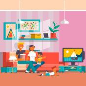 Happy family watching tv vector flat illustration