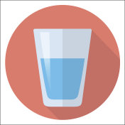 glass of water flat design icon